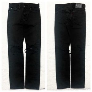 LEVI'S 510 Black Skinny HW Distressed Knee Jeans